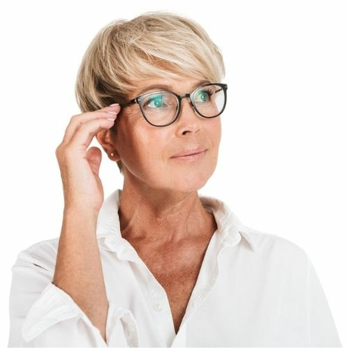 adult woman with glasses
