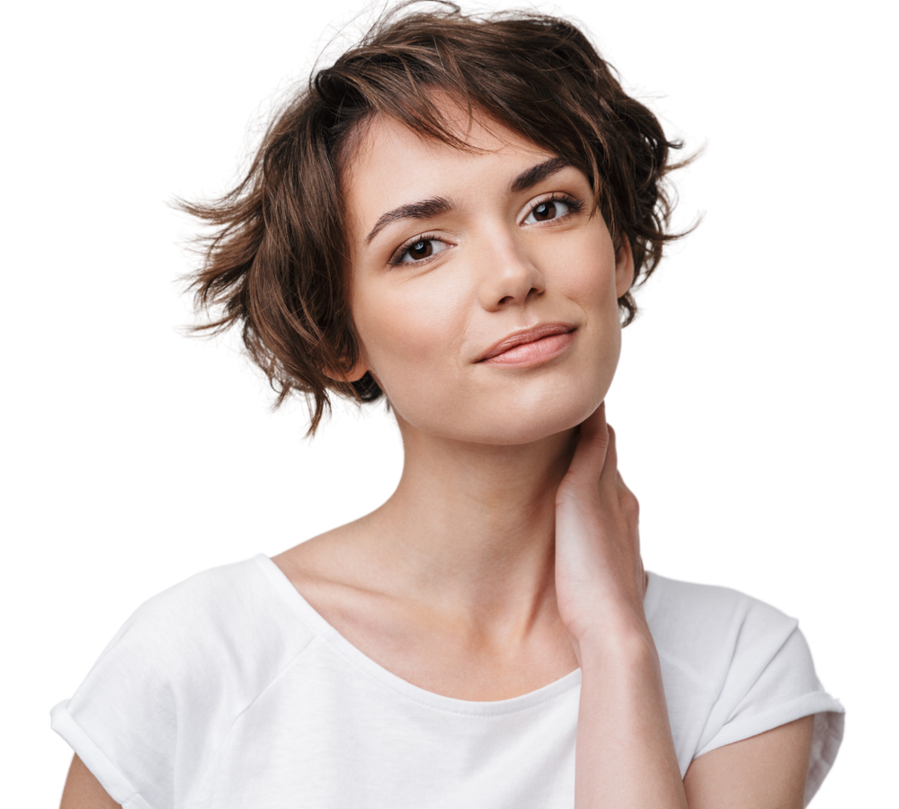 Portrait of pretty woman with short brown hair